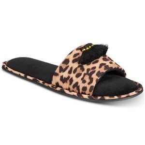 INC Animal Leopard Print Tassel Slippers Large